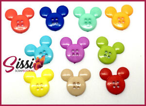 LOT-10-BOUTON-MINNIE-MICKEY-multicolore-ENFANT-SCRAPBOOKING-COUTURE-SCRAP
