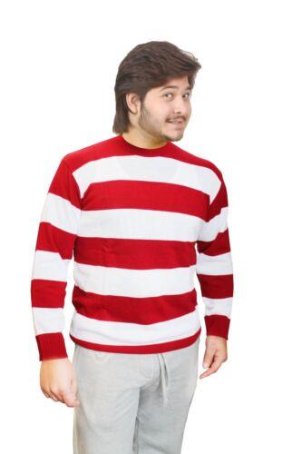 Halloween Unisex Red and White Stripe Knitted Jumper Deluxe Vampire Fancy Dress