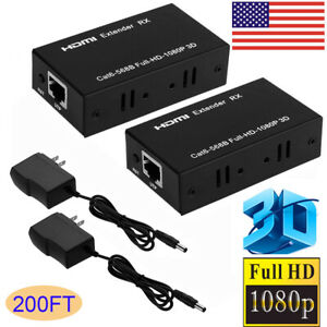 1080P-HDMI-Network-Extender-Over-Single-Ethernet-Cable-CAT-5E-6-RJ45-3D-HD-200FT