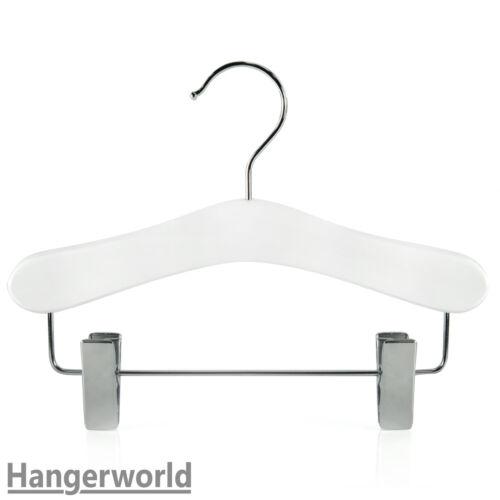 Hangerworld™ Cintres 25cm Vêtements Enfants en Bois Blanc avec Pinces Pantalon