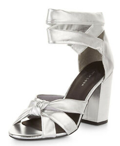 £45 NEW LOOK SIZE 3 4 5 6 7 SILVER REAL LEATHER ANKLE STRAP TIE SHOES SANDALS BN