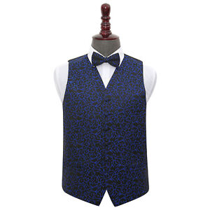 DQT-Survetement-Swirl-Patterned-Black-amp-Blue-Mens-Wedding-Waistcoat-amp-Bow-Tie-Set