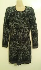 UK10 FRENCH CONNECTION angora wool jumper dress knee lenght rabbit fur EU 38