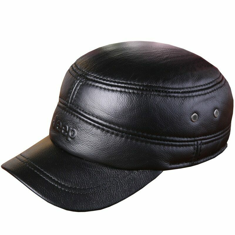 IFSUN Mens Genuine Lambskin Leather Hat Military Style Flat Cap