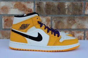 ef433e9f756 Men's Nike Air Jordan 1 Mid SE Lakers University Gold Purple Black ...