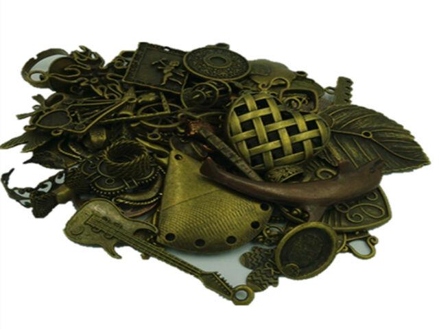 DIY 50g Lot Vintage Antique Brass Charm Pendant Mix Fashion Jewelry) Connector