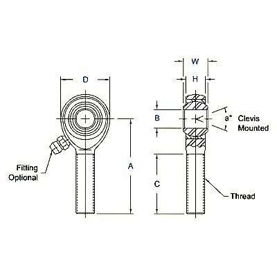 """Aurora AM12T Rod End 3//4/"""" Male Right Hand Thread x 3//4/"""" Bore Rose Joint"""