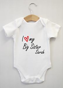 Personalised I love my Big Sister Baby Grow Bodysuit Vest Babygrow Shower Gift