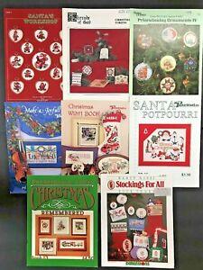 Lot-8-Christmas-Cross-Stitch-Pattern-Books-Rossi-Puckerbrush-Stockings-Ornaments