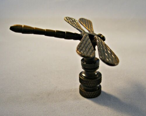 Highly detailed metal casting Lamp Finial-DRAGONFLY-Aged Brass Finish FS