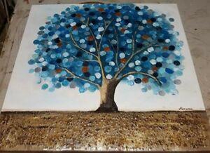 quadro moderno grande albero pietre colorate dipinto su tela con telaio 100x100