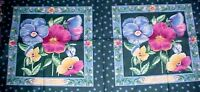 Pansy Floral Fabric Pillow Panel Quilt Squares Cotton Springs 2-16 Squares