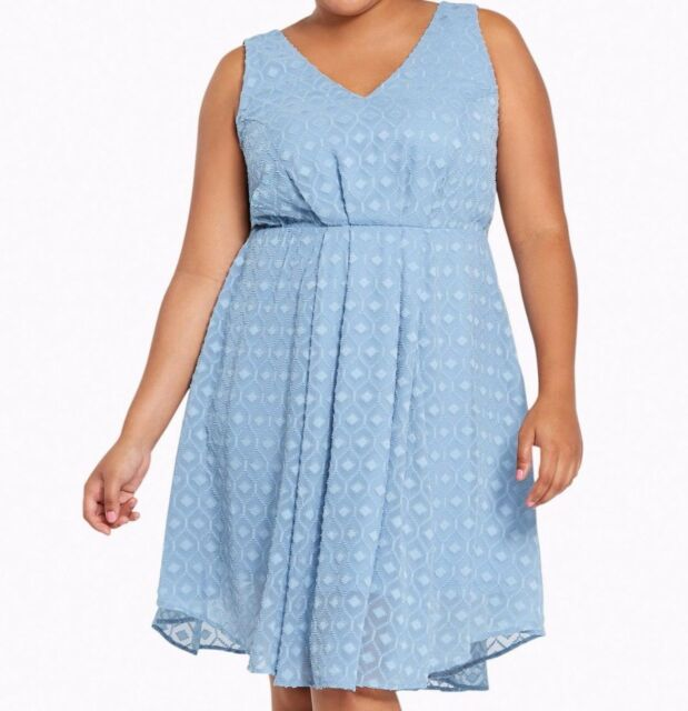9e2de8ad0d7 Torrid Textured Chiffon V Neck Dress Light Blue Sz  18 18X 2 2X  56928