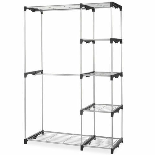 New Closet Organizer Storage Rack Portable Clothes Hanger Home Garment Shelf Rod