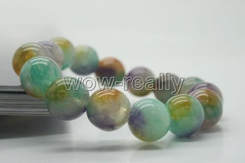 "10mm Nature Colorful Jade Stone Gemstone Round Bead Stretchy Bracelets 8/"""