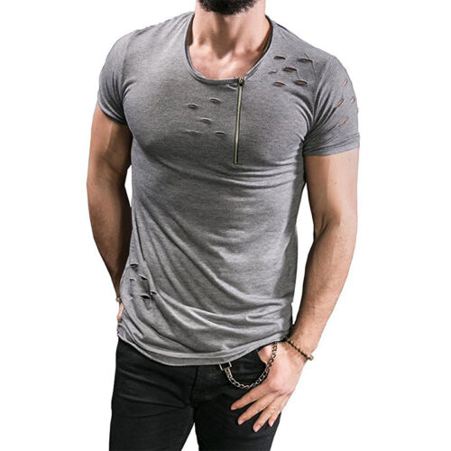 UK Mens Slim Fit Ripped Holes Short Sleeve Muscle Tee T-shirt Casual Top Blouse