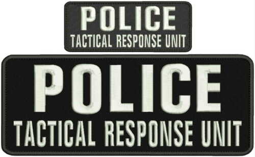 POLICE TACTICAL RESPONSE UNIT embroidery patches 4x10 and 2x6  hook white
