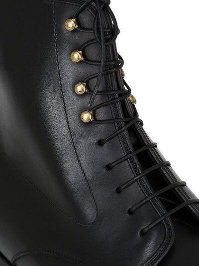 Uomo Nuove   in pelle pelle pelle fatto a mano puro nero Formale Caviglia Alta Stivali Allacciati 0c3045