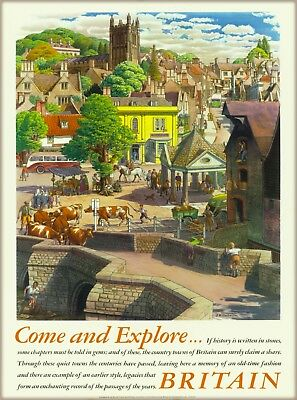 Reproduction Vintage Travel advertising poster Wall art. Cambridge