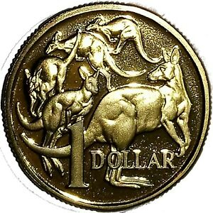 1984-Australia-1-Dollar-Mob-of-Roos-First-Proof-Issue-KM-77-Mintage-159-000