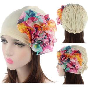 c39a02a0b55 HOT Women Lace Flower Ruffle Cancer Chemo Hat Beanie Scarf Turban ...