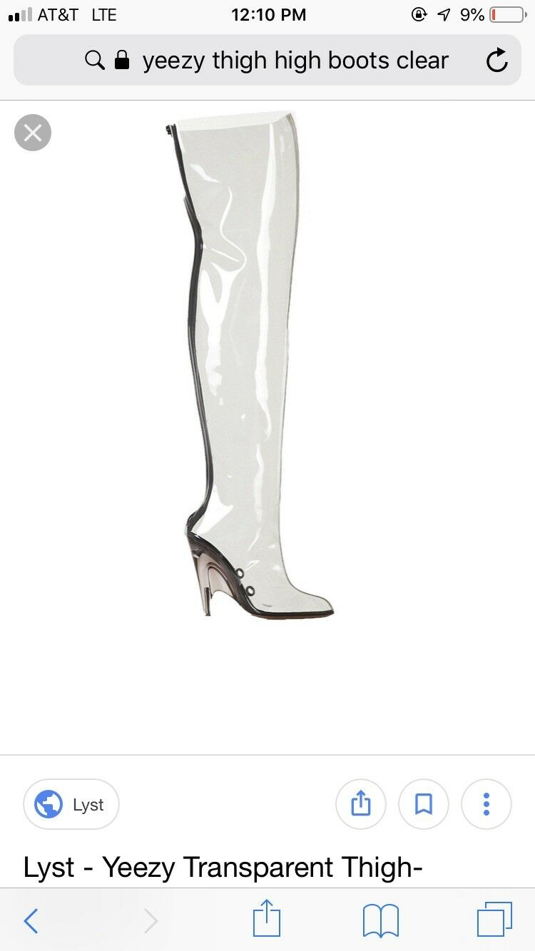 Yeezy Yeezy Yeezy Season 4 PVC TRANSPARENT Clear Over The Knee Thigh High bottes Taille 39 US 8 c745e9