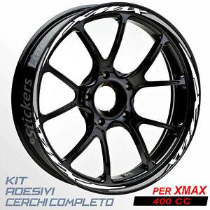 Adesivi-cerchi-ruote-XMAX-400-set-profili-BIANCO-GRIGIO-wheel-stickers-R-5t