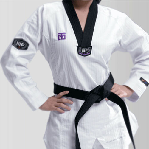 Mooto 3F Woman Taekwondo Uniform Female Dobok Black V-Neck Korea MMA TKD