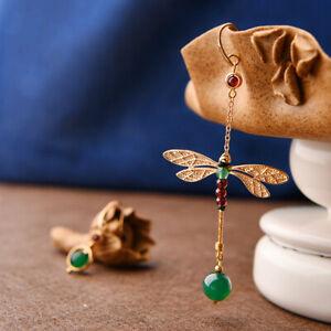 Lady Cute Chinese Dragonfly Earrings Ear Stud Pair 14k Gold Plating Agate Garnet