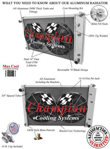 1981-1990 Chevy V Series 3 Row Champion Alum Radiator Fan Combo