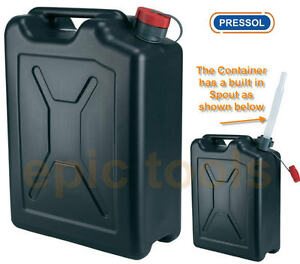 pressol 20l 20 litre plastic fuel petrol diesel water container with spout 21127 3663105233956. Black Bedroom Furniture Sets. Home Design Ideas