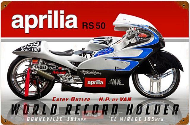 APRILIA RS50 World Record Custodia Arrugginita metallo insegna (PST 1812)