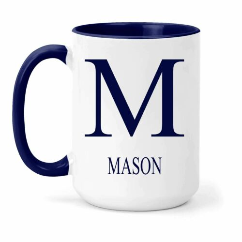 Gift in Many Colours For Tea or Coffee Mason Name /& Initial Mug