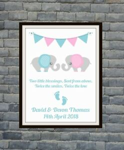New Baby *Christening* Baby Shower Gift Idea Personalised Elephant Twins Print