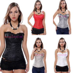 Brocade-Strap-Padded-Cup-Lace-Up-Boned-Corset-Zipper-Bustier