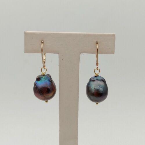 20MM Black  Keshi Pearl Earrings-GP Lever Backb