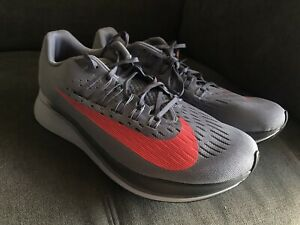 New-Nike-Zoom-Fly-Gray-Red-Running-Shoes-Size-US-Mens-11-880848-004