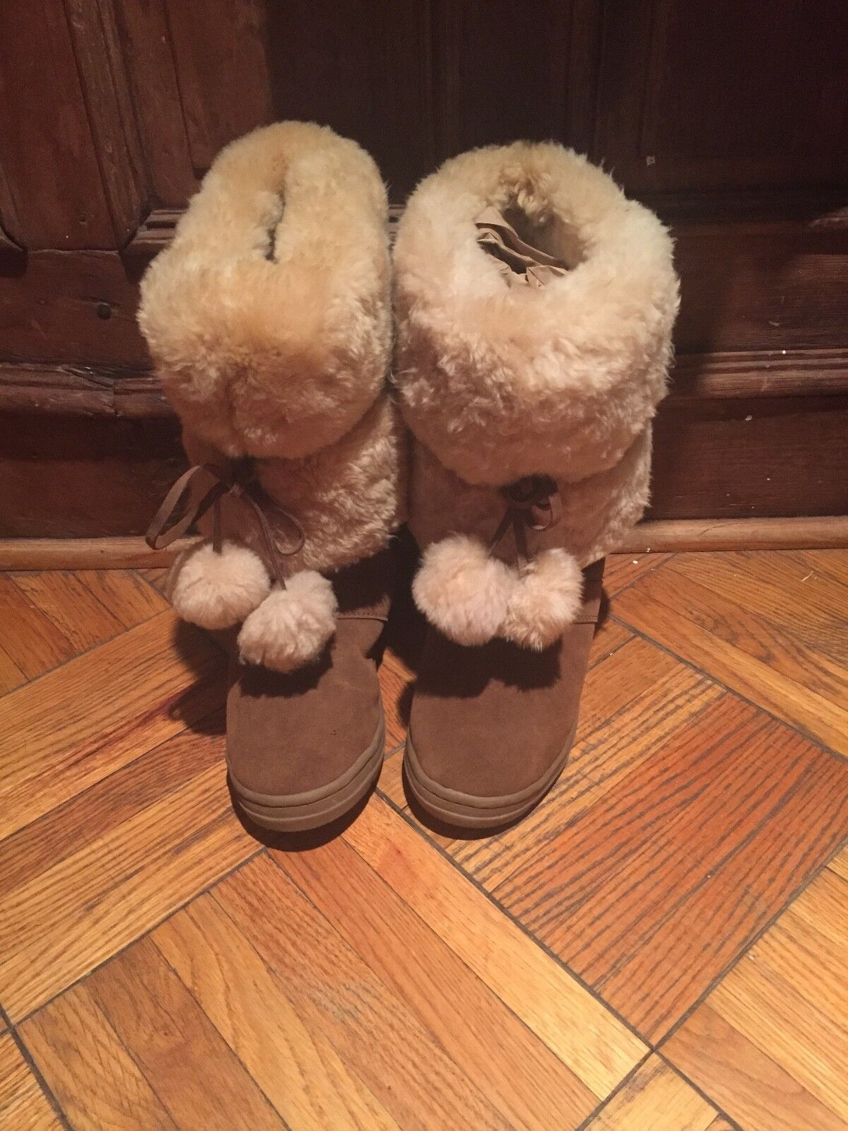 J Crew winter snow boots fully lined thick shearling 8 pom poms worn only once