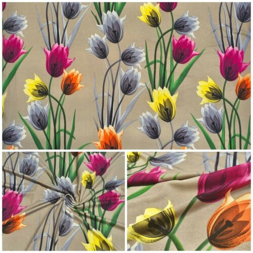 Viskose Jersey Stoff Tulpen Bedruckt Elastisch Kleiderstoff Strandkleid Deko