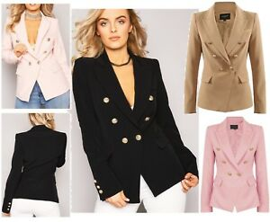Womens-Double-Breasted-Gold-Button-Front-Black-Military-Style-Blazer-Coat-Jacket