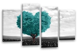 Imagen de Lona Lona Lona Floral Amor verde azulado impresión del corazón árbol blancoo gris Negro 4 conjunto de panel 975bee