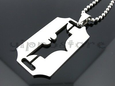 "Batman Dark Knight Razor 316L Stainless Steel Pendant w/ 30"" Ball Chain Necklace"