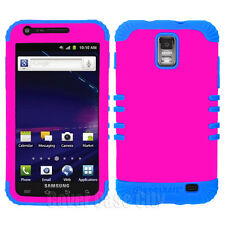 For Samsung Galaxy S 2 i727 SkyRocket Hybrid Hard Cover Case Pink with Blue Skin