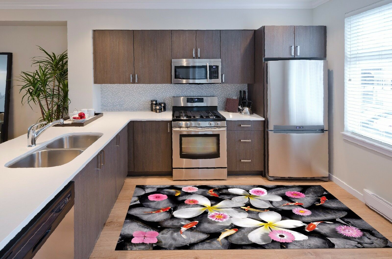 3D Flower Fish 83 Kitchen Mat Floor Murals Wall Print Wall AJ WALLPAPER AU Carly