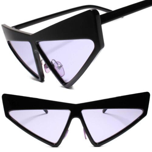 Womens Unique Funky Retro 70s Style Black Frame Purple Lens Cat Eye Sunglasses