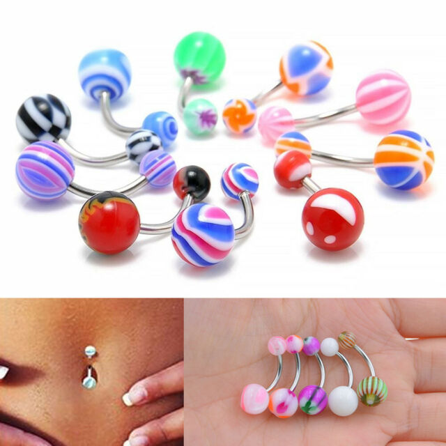 1 paire Faux Pearl Ball Belly Button Bar Navel Ring Barbell Body Piercing Jewelry
