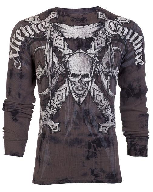 Xtreme Couture AFFLICTION Men THERMAL T-Shirt BATTLE-X Skull Biker UFC M-3XL $58