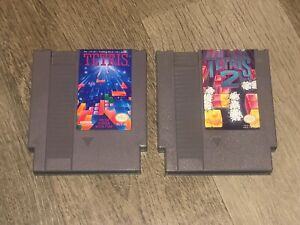 Tetris-1-amp-2-Game-Lot-Nintendo-Nes-Cleaned-amp-Tested-Authentic