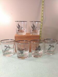 Federal-Glass-Wild-Game-Birds-Glasses-Silver-Rimmed-Sportsman-Set-Of-6
