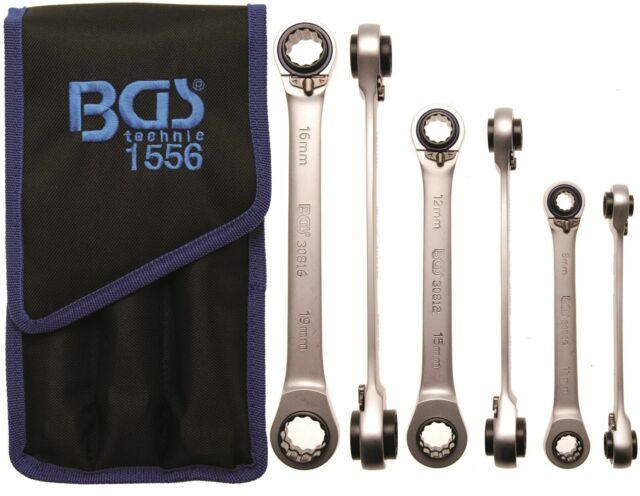BGS Maul Ratschenringschlüssel Satz Ratschenschlüssel 8-19 mm 12-tlg im Modul